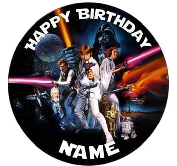 Star Wars Personalised Edible Icing Cake Topper 7.5in Precut Round/Square